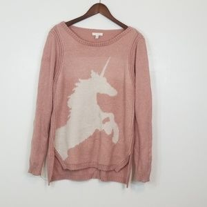 Lauren Conrad Unicorn ScoopNeck Pink/White Sweater